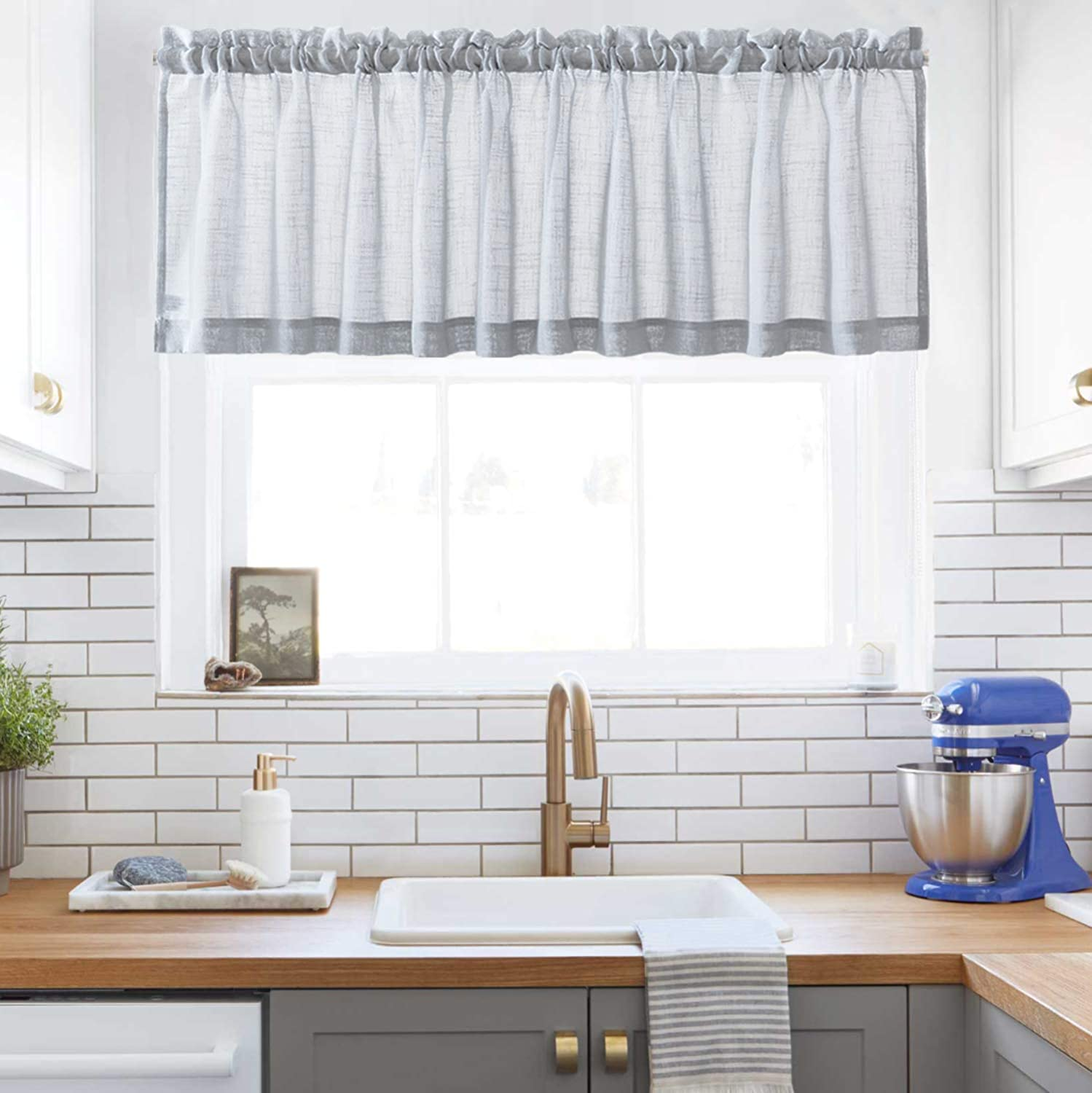 Amazon Com Grey Sheer Curtains Valance Semi Sheer Window Curtain For Kitchen Cafe Half Window Curtains Rod Pocket W60 X L16 1 Panel Kitchen Dining