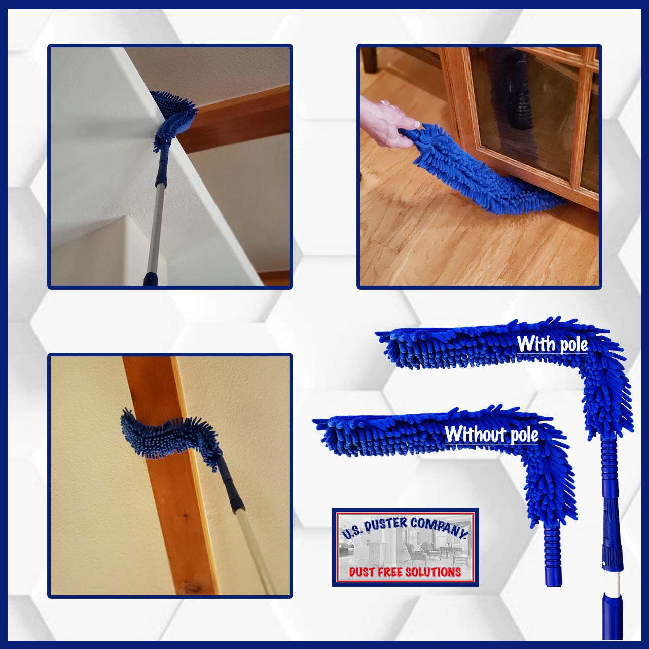 Ceiling Fan Duster Cobweb Duster, Extendable Reach 20 feet,   3-Stage Aluminum Telescoping Pole   Extends for High Ceiling Duster   Long Handle Plus 2 Duster Heads by U.S. Duster Company (Image #3)