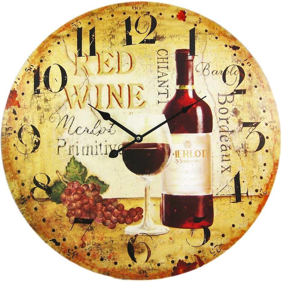 Things2Die4 Wine Motif 23 Inch Diameter Wall Clock Vineyard