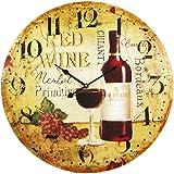 Wine Motif 23 Inch Diameter Wall Clock Vineyard