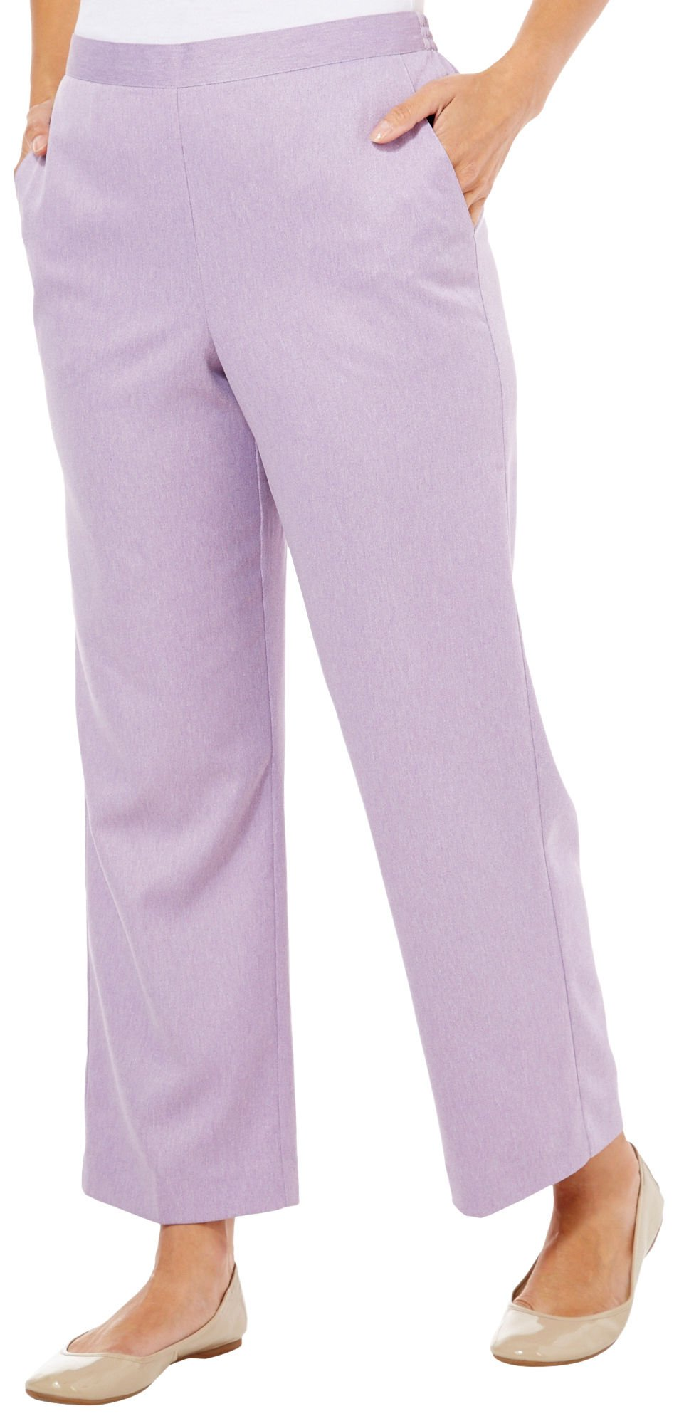 Alfred Dunner A Fine Romance Flat Front Pants Lilac 18 M