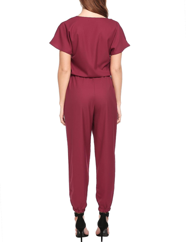 d7877b41a8dc Amazon.com  Beyove Women Casual V Neck Pockets Short Sleeve Drawstring Romper  Jumpsuits  Clothing