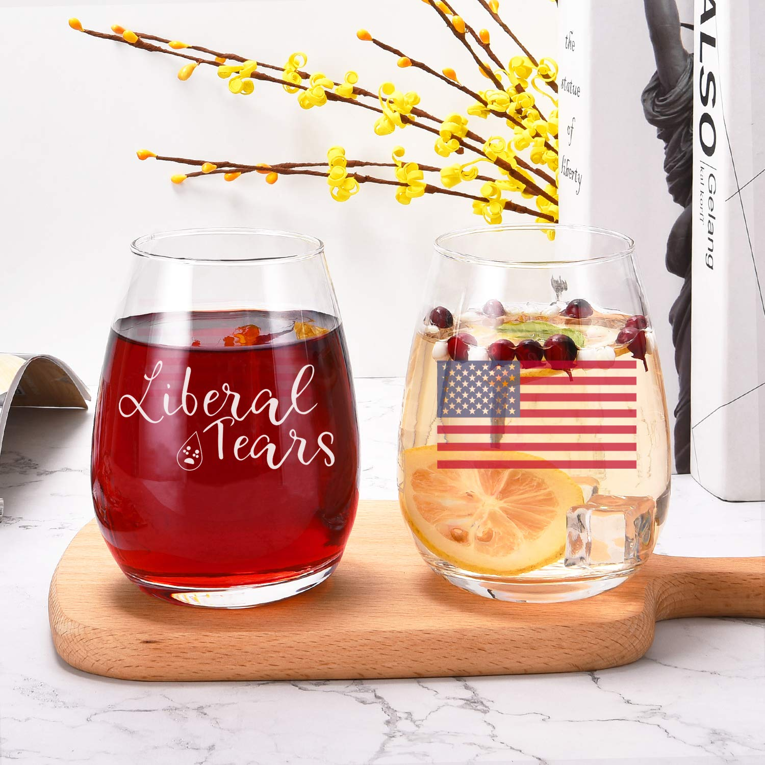 American Patriot Gifts/for mom dad husband wife Wine Glasses Patriotic Funny Stemless Wine Glass for US Independence Day Patriotic Themed Glass Liberal Tears Wine Glass with American Flag