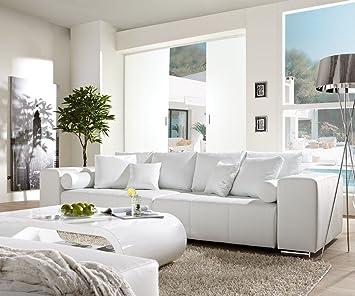 Sofa für küche  Couch Marbeya Weiss 290x110 cm mit Schlaffunktion Big-Sofa: Amazon ...