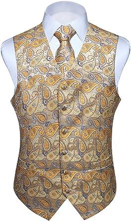 HISDERN Chaleco y corbata de jacquard floral paisley clasico para ...