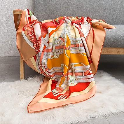 JIAHE Bufanda de Seda de la Cadena Correa de Tela Cruzada Seda Toalla Cuadrada Toalla Decorativa