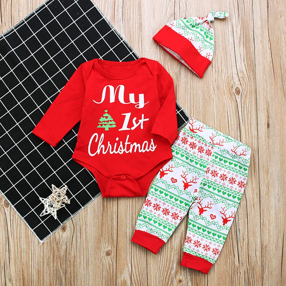 Decha Christmas Outfits Baby Boys Girls My First Christmas Rompers with Xmas Hat Clothes Set Red, 6-9 Months