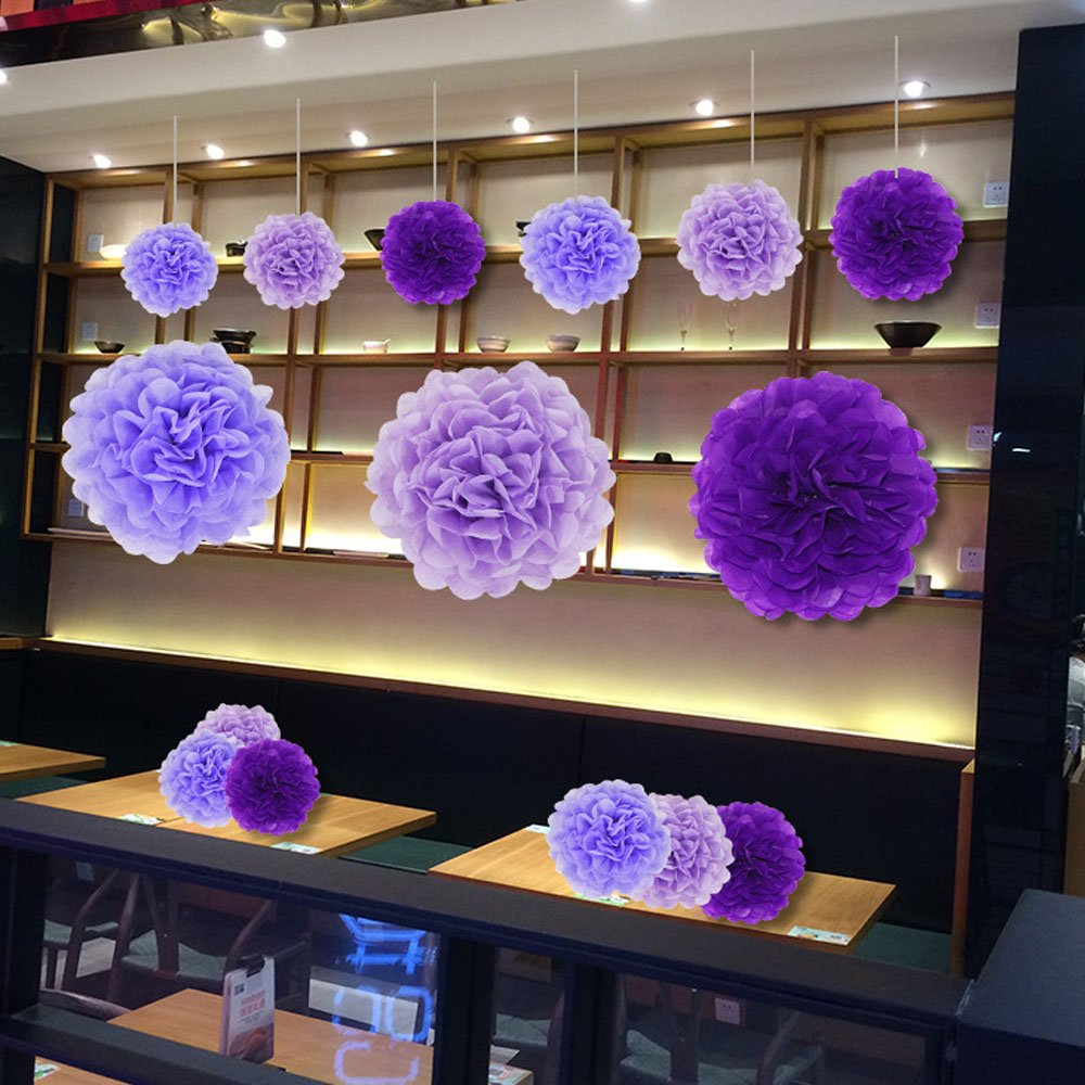 Paper Pom Poms Tissue Paper Flowers Purple Mysterious Flower Balls Wedding, Birthday Party, Baby Shower Pack of 12pcs