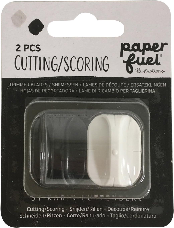 Paperfuel Cuchillas de Repuesto para Cortador y Plegadora de Papel, Plástico y Metal, Negro y Blanco, 10.2x8.5x1.5 cm, 2 Unidades