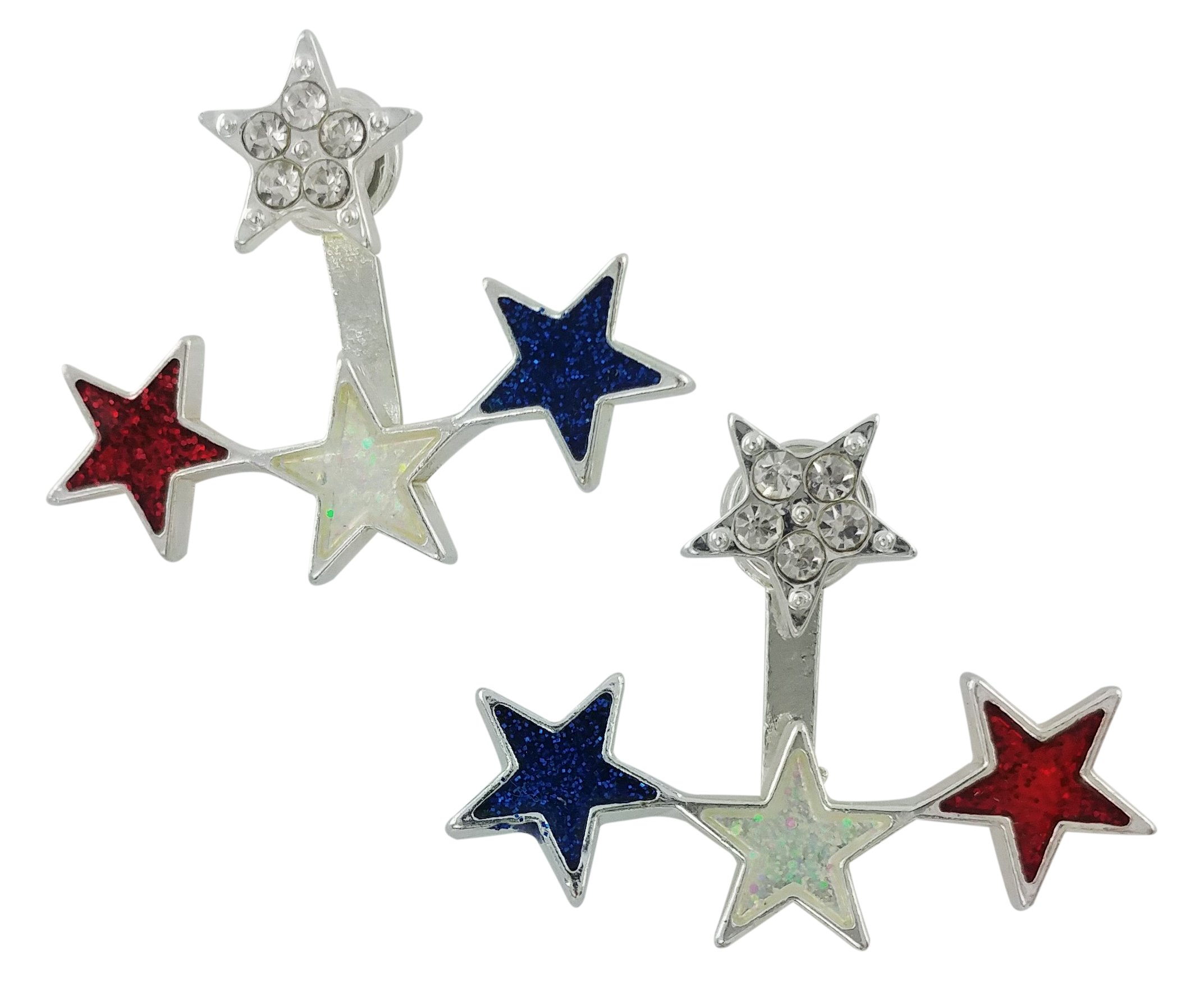 Red white and Blue star 2 Piece Ear jacket, Ear Stud could be worn alone as a stud.