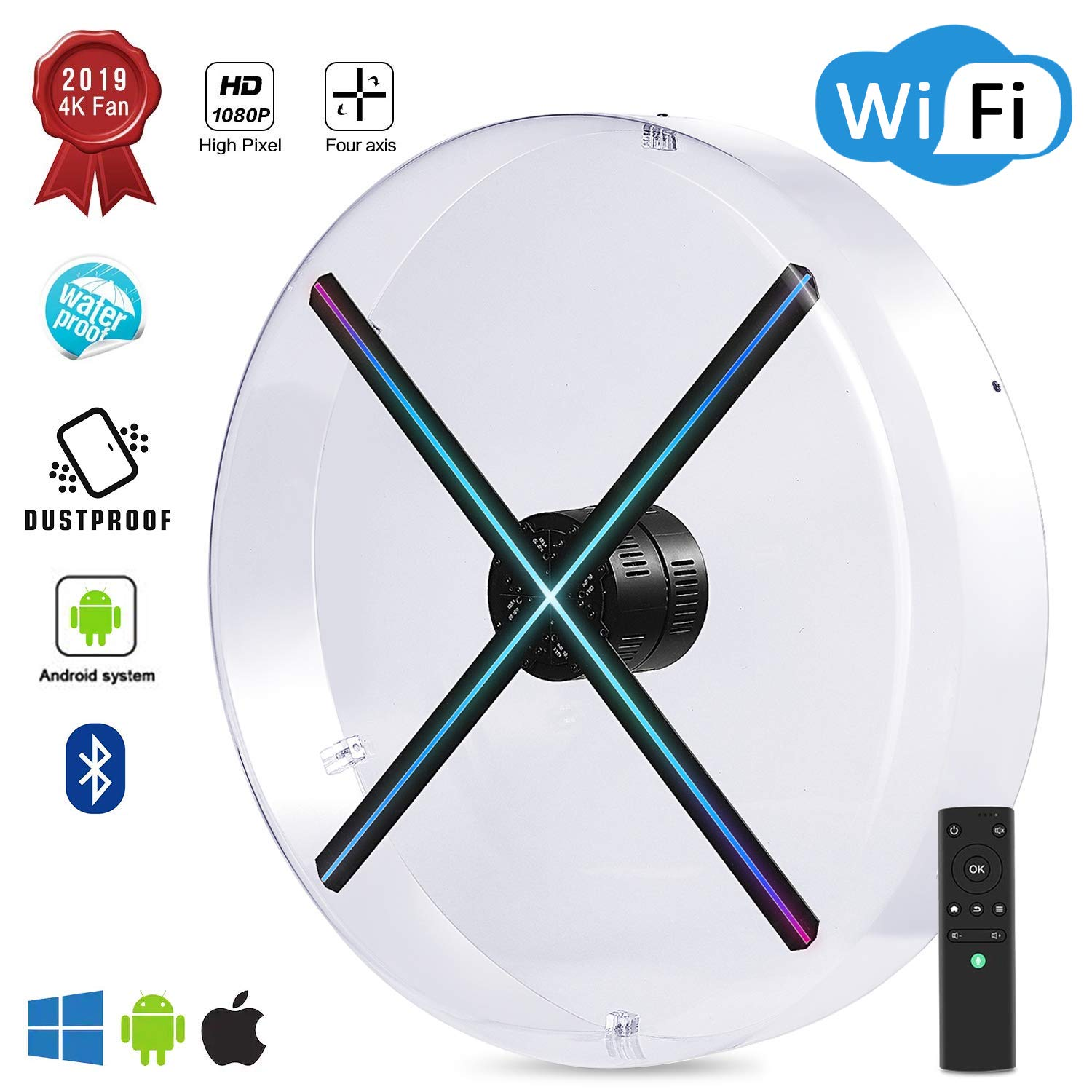 2019 Premium 4K 3D Hologram Fan Display, Android Smart Operating  System,Upload by APP/TF Card/Cloud Serve ,Support WiFi+Bluetooth,1080P HD  Holographic