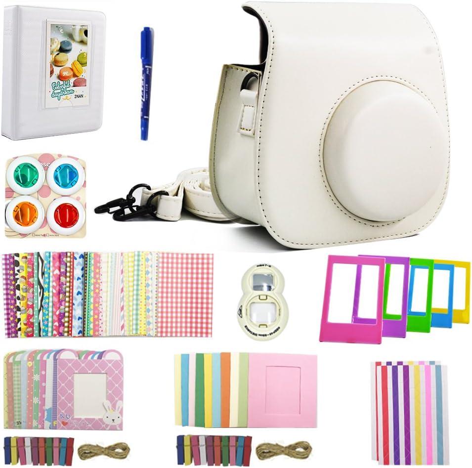 Shaveh 11 in 1 Camera Accessories for Fujifilm Instax Mini 7//8 or Mini 9 Include Camera Case//Album//Selfie Lens//Colored Filters//Wall Hang Frames//Film Frames//Border Stickers//Corner Stickers//Pen White