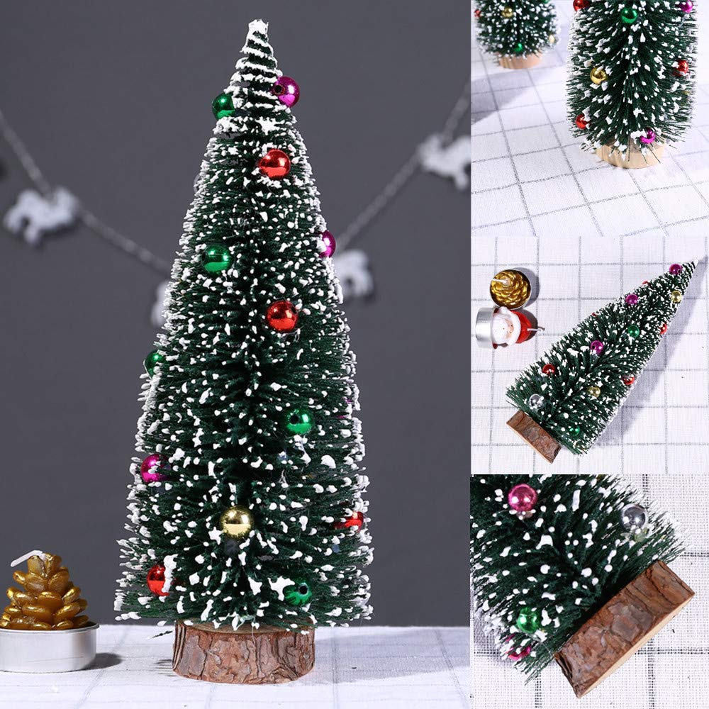 5.9'' Green Pine Tree with Wooden Base Pre-Lit Christmas Tree Artificial Tabletop Christmas Tree with Bauble Festival Miniature Tree for Christmas Decor (D) by DaoAG-Christmas (Image #4)