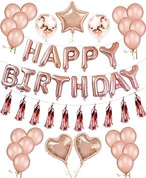 Ilovecos Geburtstag Dekoration Rosegold Luftballons Gute Zum