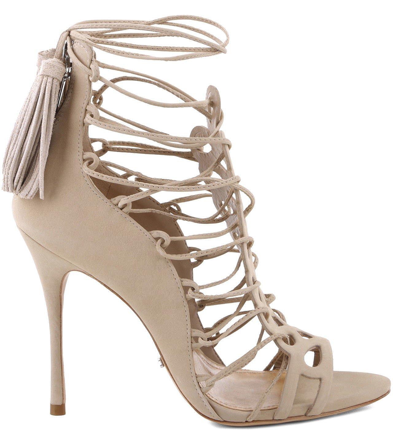 various styles huge discount top design Amazon.com: SCHUTZ Drew Oyster Nude Strappy Tie Up high Heel ...