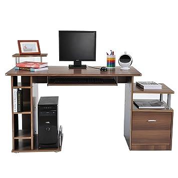 Computertisch holz  Homcom A2-0082 Computertisch, Holz, braun, 152 x 60 x 88 cm ...