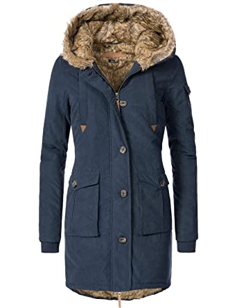 Eight2Nine Damen Winter Mantel Winterparka 44410A1EN Blau Gr. XL ... c4d865cdf9