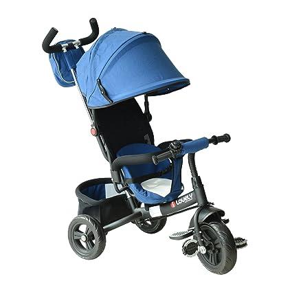 Homcom 3 EN 1 Triciclo para Niños +18 Meses Triciclo con Pedales con Capota Extraíble Plegable Barra Telescópica para Padres Triciclo de Empuje ...