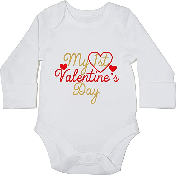 e8d8fdb98 Hippowarehouse My 1st Valentine's Day Baby Vest Bodysuit (Long Sleeve) Boys  Girls: Amazon.co.uk: Clothing