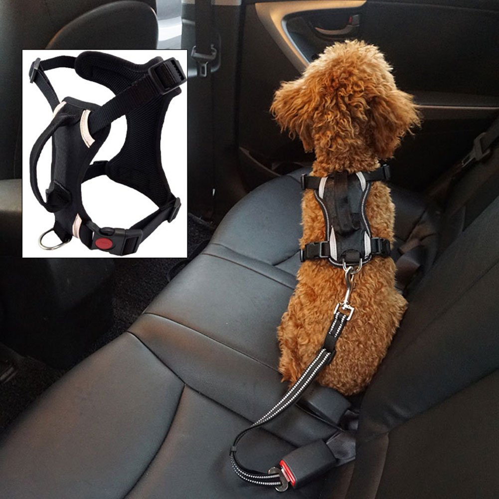 Pet Safety Adjustable Harnesses Mesh Padded Vest Dog Car Harness Outdoors Convient With Handle for Walk or Vehicle for Medium dogs by LILY VALLEY (Image #1)