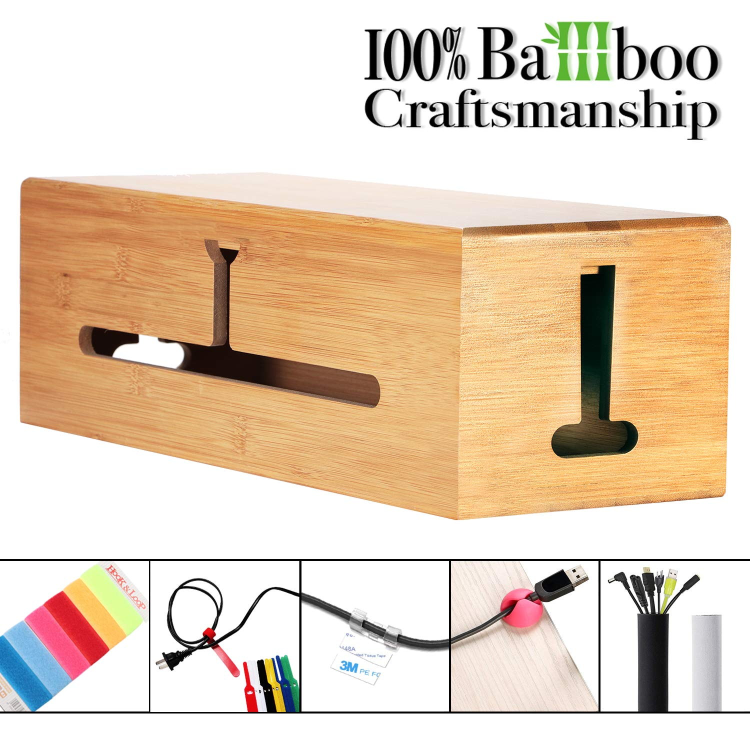 HomeBliss Bamboo Large Cable Box - Stylish Cord Organizer Cable Management Box for Cord Hider and Cord Management - Protector with Cable Sleeve (Bamboo - Large)