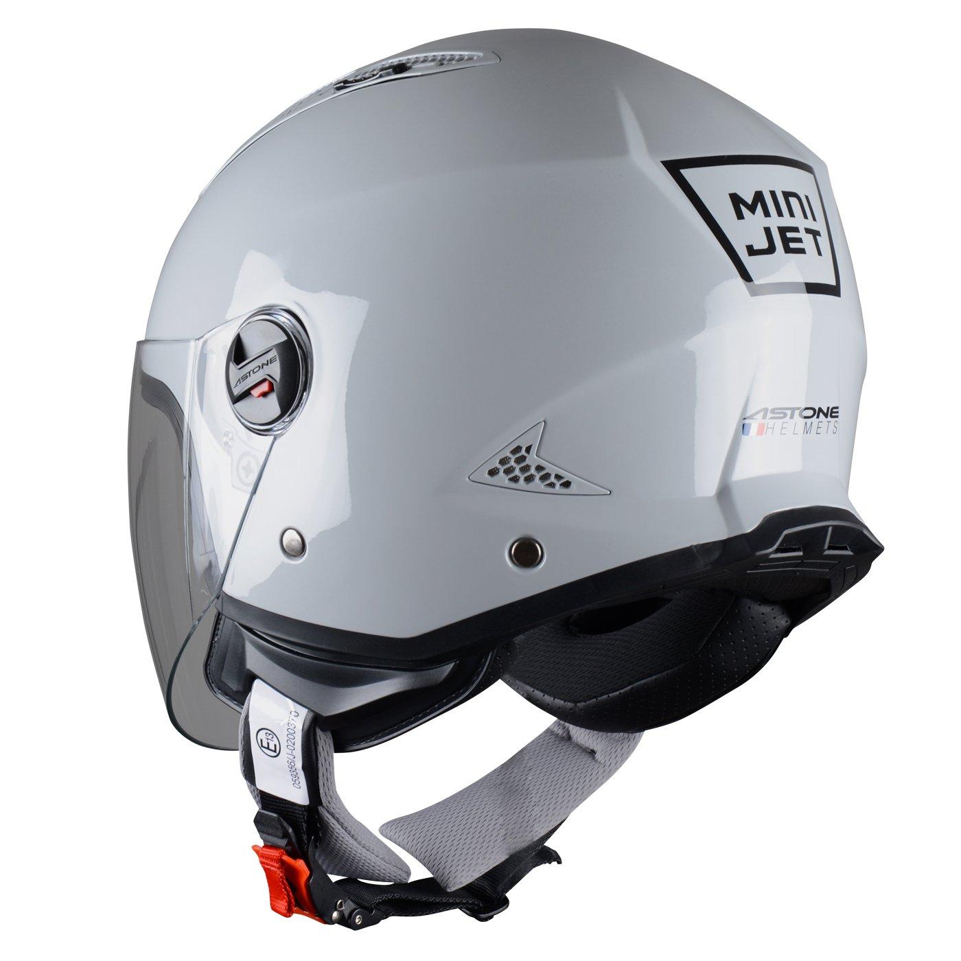 Coque en polycarbonate Black Gloss Astone Helmets Casque moto et scooter compact Casque jet MINIJET monocolor Casque jet urbain