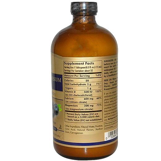 Solgar - Citrato líquido del magnesio del calcio con sabor natural del arándano de la vitamina D3-16 la Florida. onza.: Amazon.es: Salud y cuidado personal