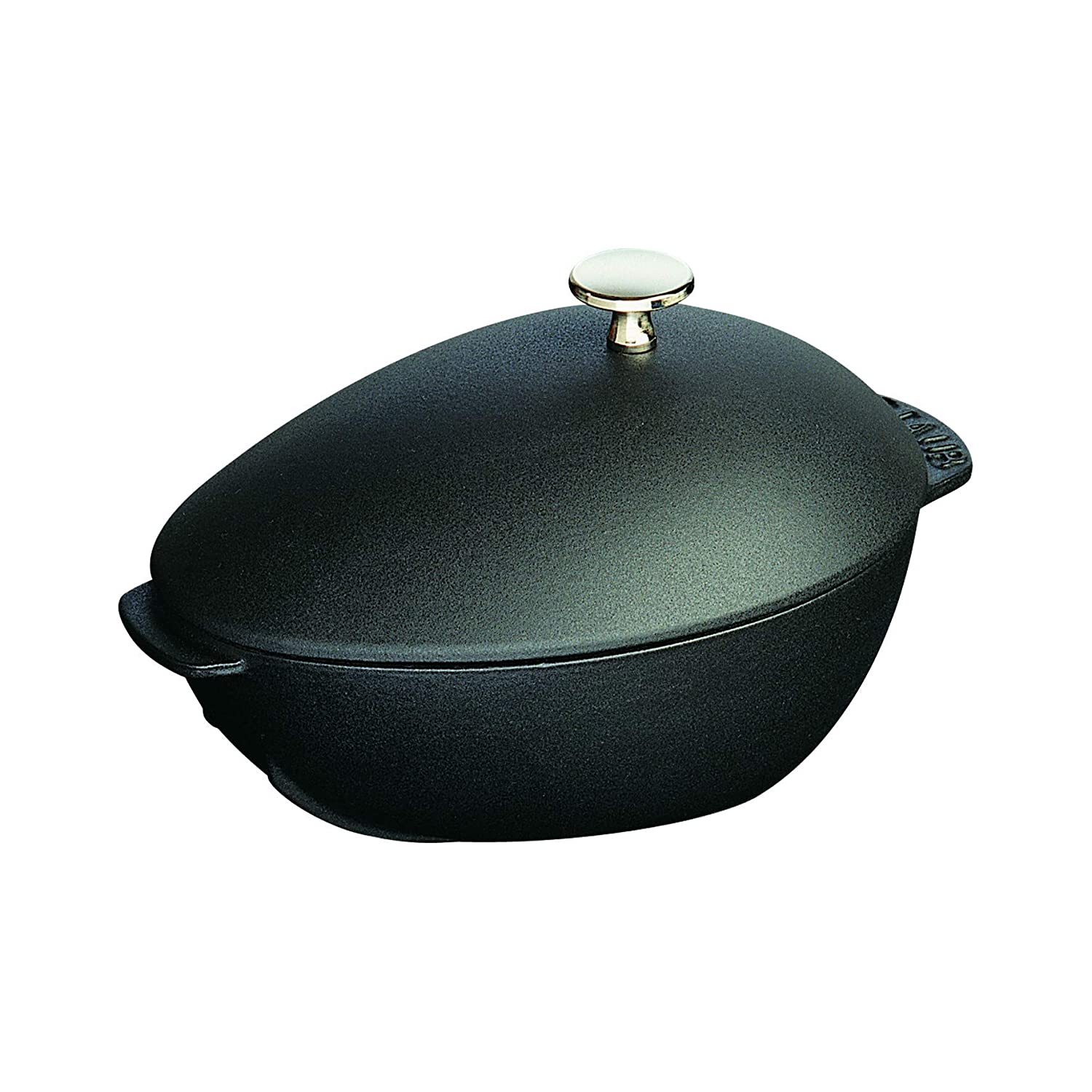 Staub 2 Quart 7 x 9 1/2 inch Mussel Pot with Stainless Steel Knob, Black Matte