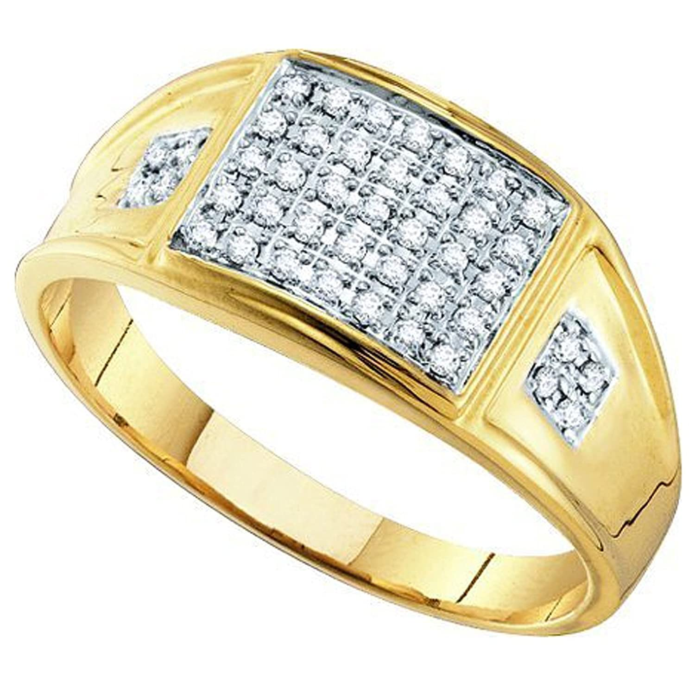 0.27 Carat (ctw) 10K Yellow Gold Round White Diamond Men's MicroPave Wedding Band Anniversary Ring 1/4 CT