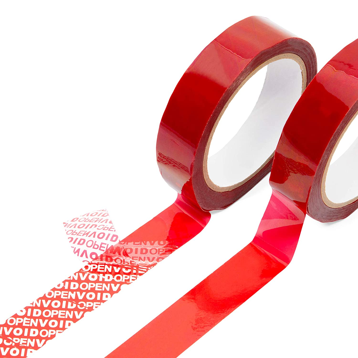 Tamper Evident Tape, Red Security Void Seals (1 Inch x 55 Yards, 2 Rolls)