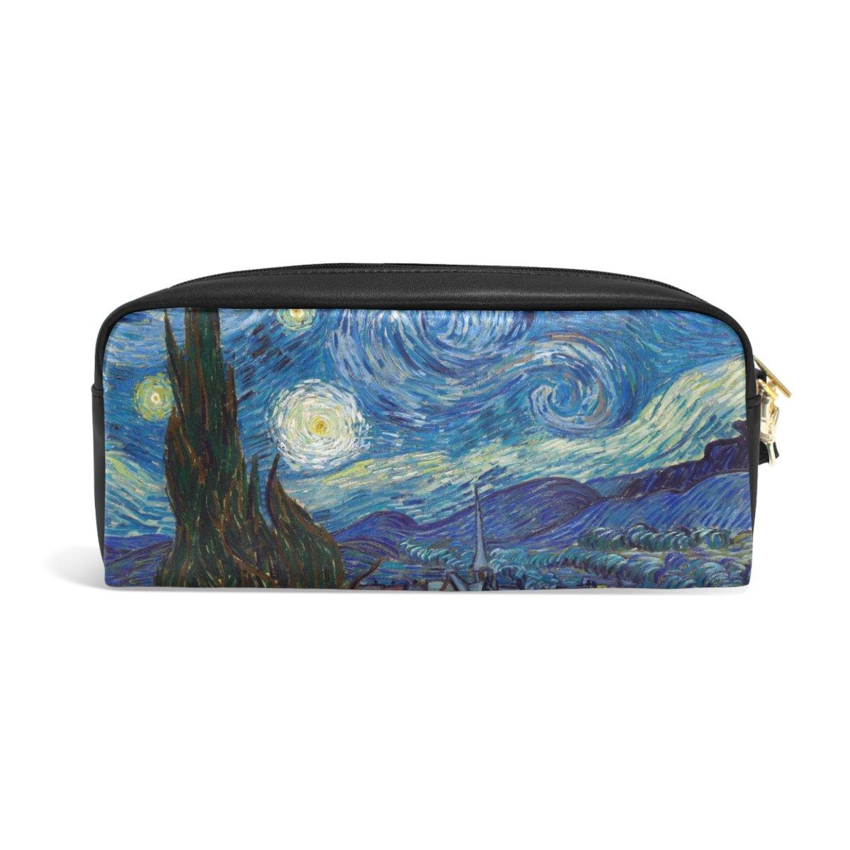 zzkko noche estrellada Van funda Gogh funda Van de piel cremallera lápiz pluma estacionaria bolso de la bolsa de cosméticos bolsa 1a3968