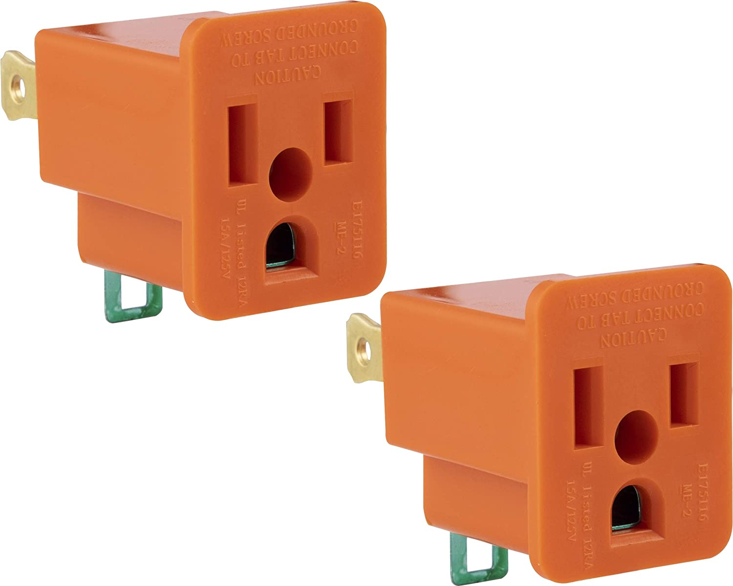 Ge Polarized Grounding 2 Pack Turn 2 3 Prong Easy To Install Indoor Only Ul Listed Orange 14404 Outlet Adapter Plug Adapters Amazon Com