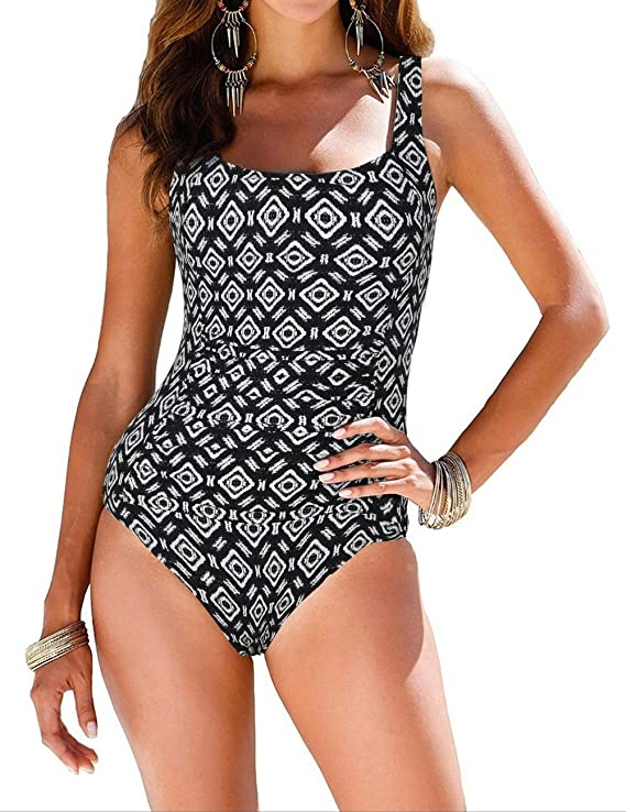 Firpearl Women's Backless One Piece Bathing Suit Ruched Tummy Control Swimsuit Black US6
