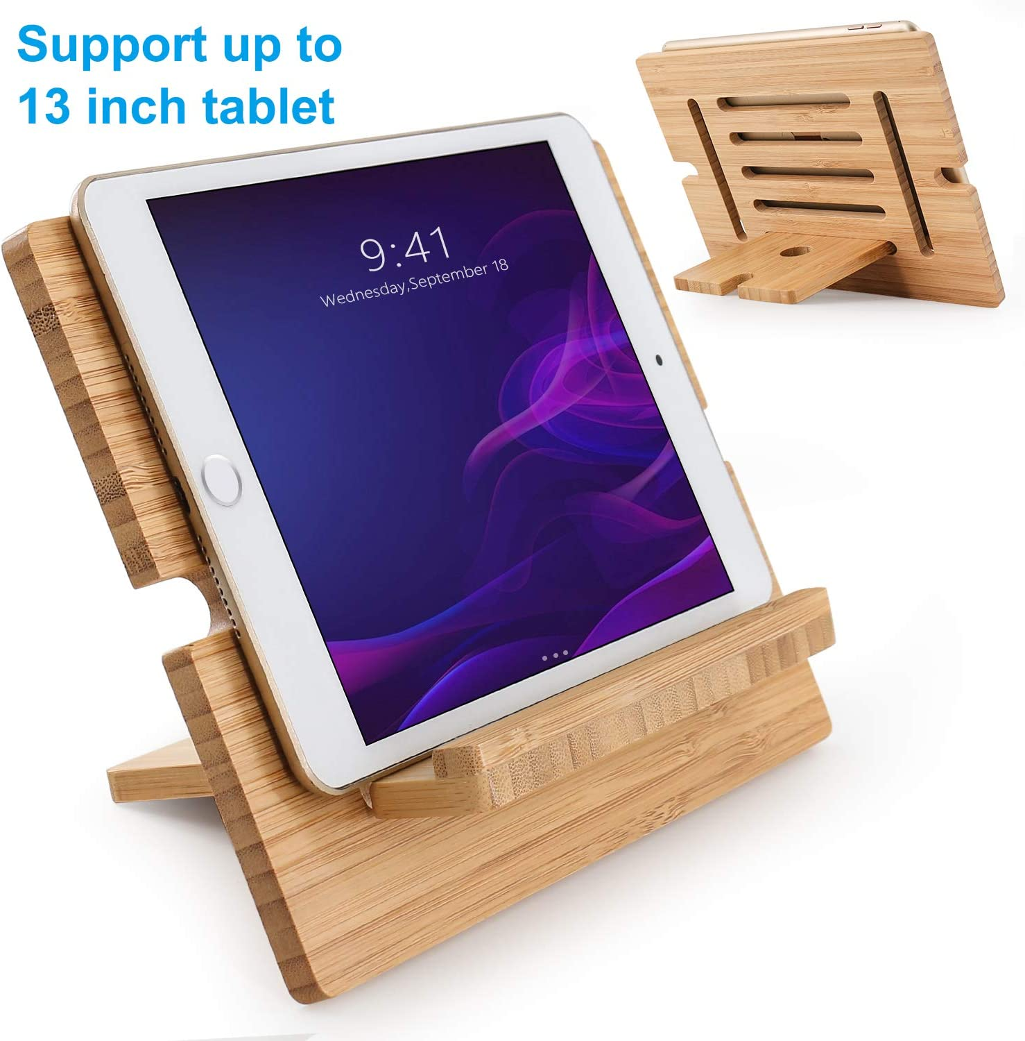 "Bamboo Tablet Stand Adjustable, Pezin & Hulin Desktop Cell Phone Stand Holder Dock Compatible with Pad Pro 9.7, 10.5, 12.9, Air 2 3 4 Mini, Kindle, Phone 8 Plus X XS Max XR (Support to 13"" Devices)"