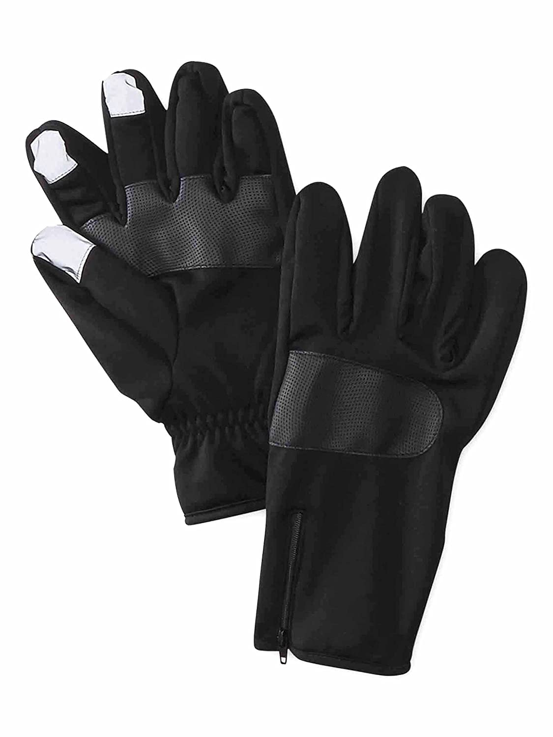 NordicTrack Mens Zippered Neoprene Fleece Lined Texting Gloves Black