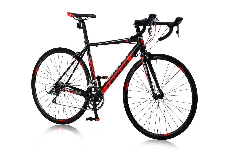 CANOVER(カノーバー)ロードバイク 700C シマノ16段変速 CAR-011(ZENOS) 軽量クランク アルミフレーム フロントLEDライト付 [メーカー保証1年] B011B9HWLS ブラック ブラック
