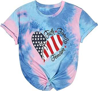 UNIQUEONE Women American Flag Print Tee Faith Family Freedom Short Sleeve Blouse T-Shirt Tops