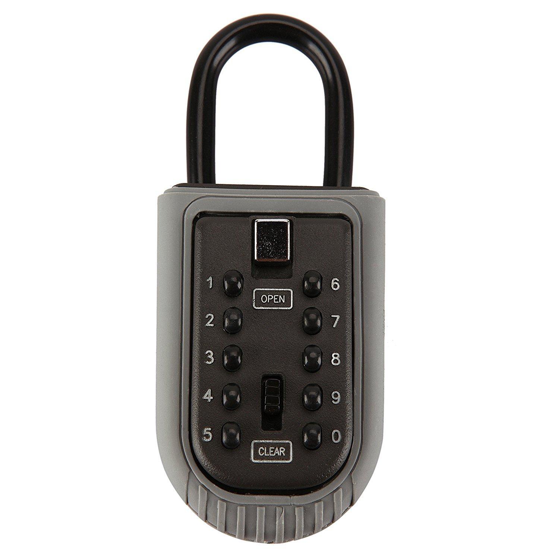 Lennov Key Lock Box Shackle Padlock Lock Box Combination Padlock 10 Digital Push Button Set Realtor Key Safe Box Storage Spare Keys for Home Garage School House