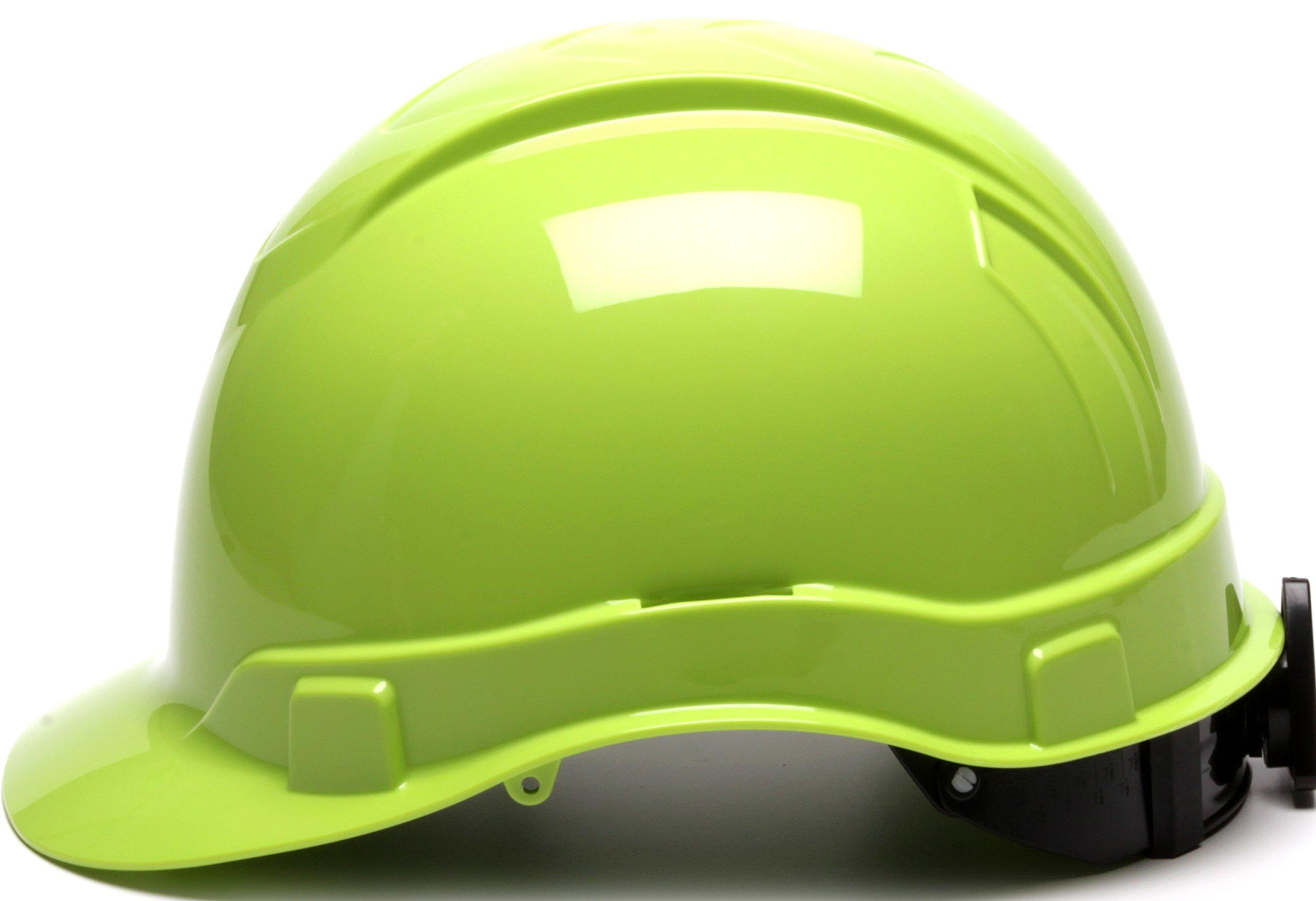 Pyramex Ridgeline Cap Style Hard Hat, 6 Point Ratchet Suspension, Hi Vis Lime by Pyramex Safety (Image #3)
