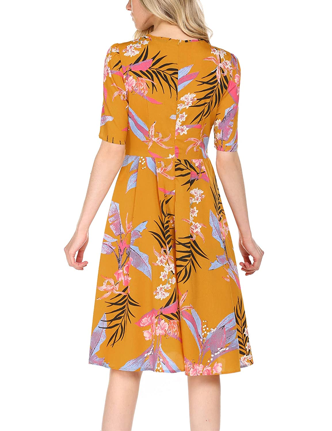 ACEVOG Womens Casual Short Sleeve Floral Printed Fit and Flare Party Dress