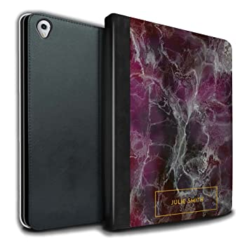 low priced ba238 e44bb Stuff4 Personalised Custom Marble PU Leather Case for Apple iPad Pro 9.7 /  Purple & Gold Stamp Design/Initial/Name/Text DIY Tablet Book Cover