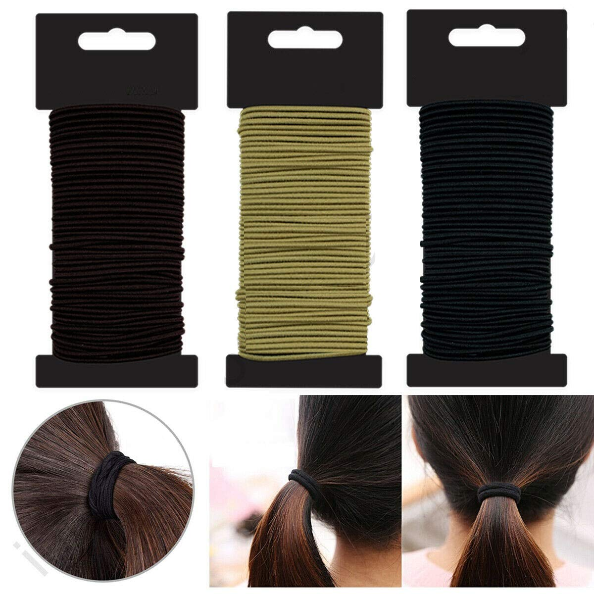 50 Snag Free Thin Elastic Hair Bands Bobbles Band School Ponytail Black Brown