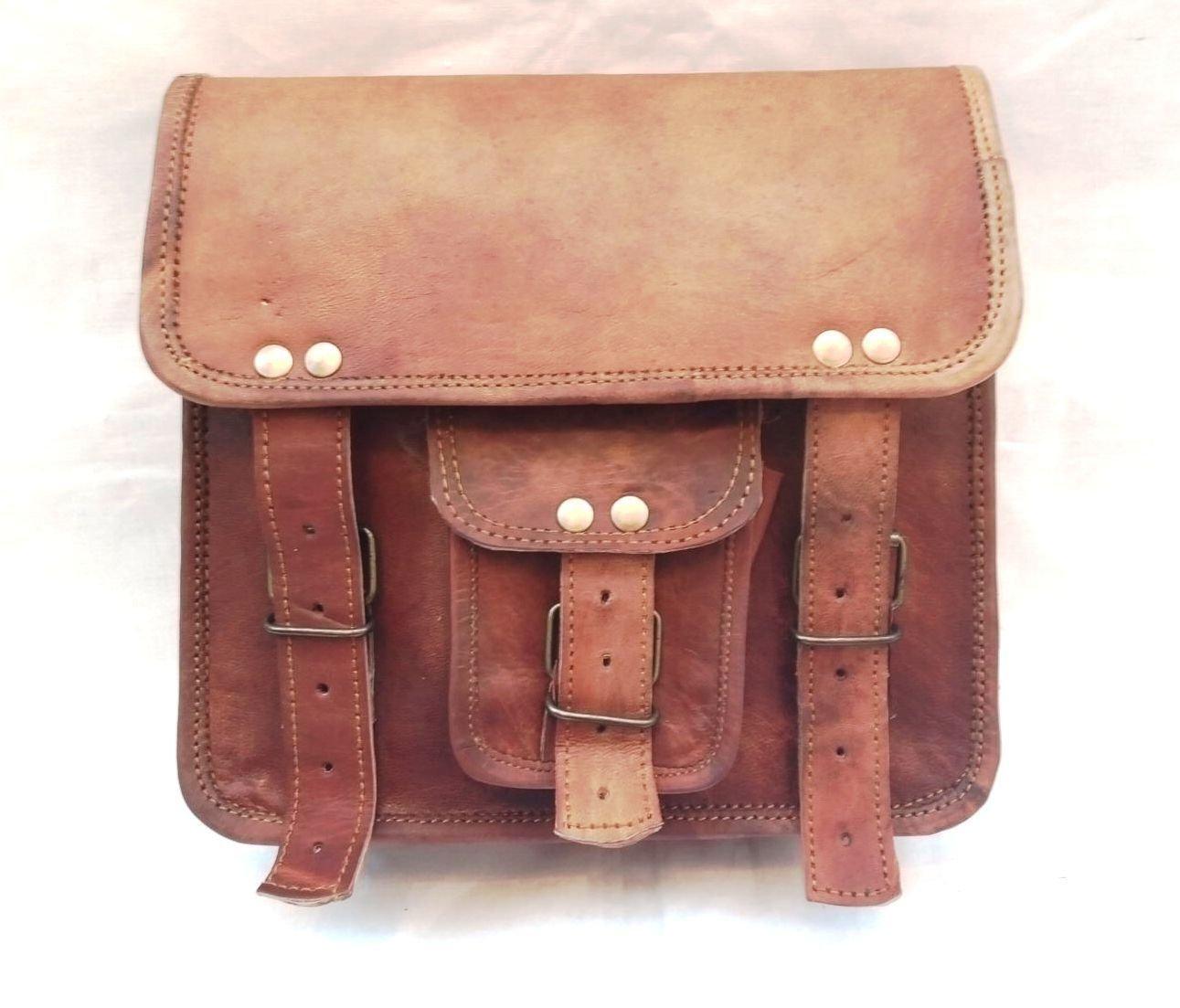 Messenger Bag Leather Vintage Full Flap Laptop Tablet Shoulder Brown Bag Fashionable Bag.