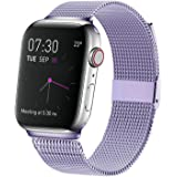 MCORS Compatible with Apple Watch Band 44mm 42mm,Stainless Steel Mesh Metal Loop with Adjustable Magnetic Closure Bands Compatible with Iwatch Series 5 4 3 2 1 Lavender