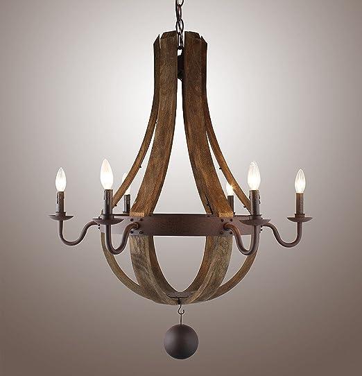 Amazon.com: Vintage rústica grande de araña colgante luz de ...