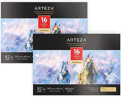 Arteza Blocs de dibujo para pintura acrílica | Tamaño A3 | Pack de 2 | 16 hojas x 2 | Papel de pintura grueso (400gsm) | Cuadernos para pintar con acrílicos y al óleo: Amazon.es: Oficina y papelería