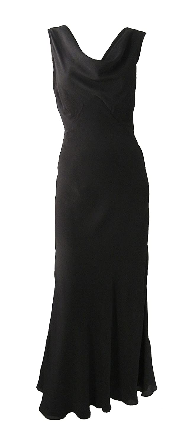 Vintage 1930s Style Black Silk Gown