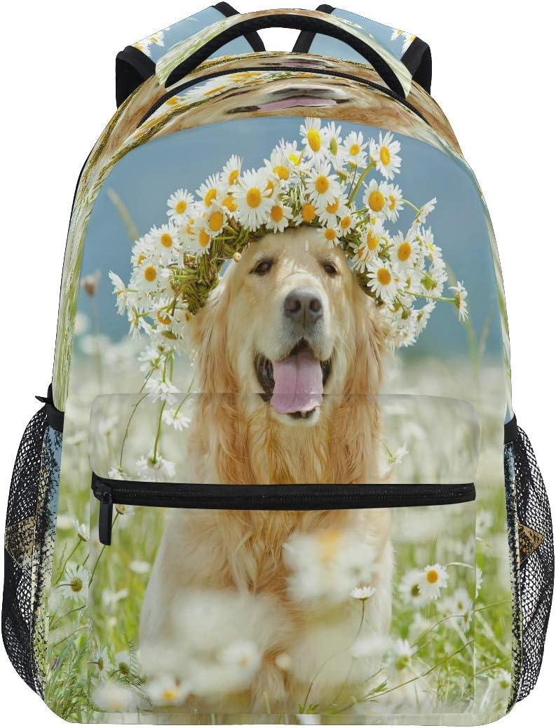YVONAU Golden Retriever Dog Flower Kids Backpack School Bookbag Laptop Shoulder Backpack College Bag for Women Men Girls Travel Rucksack Hiking Daypack