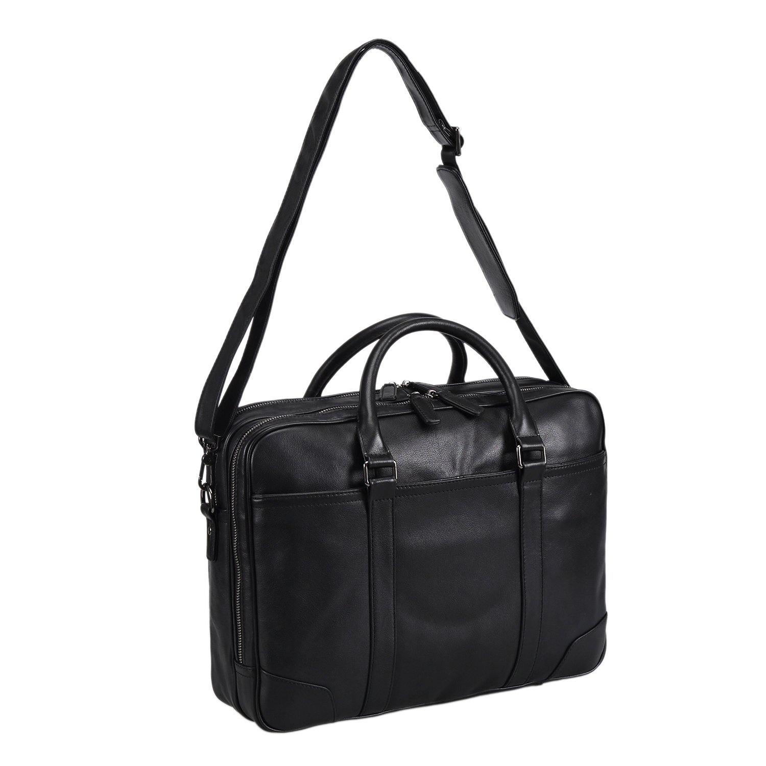 Polare Soft Real Leather Double zipper Laptop Computer 15'' Briefcase Business Bag by Polare (Image #6)