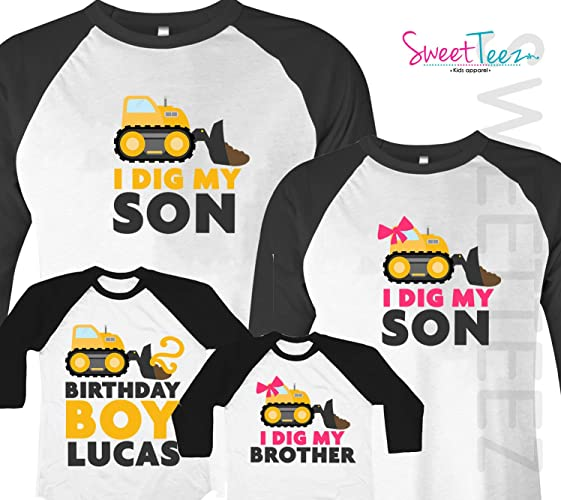 Amazon Construction Birthday Shirts For Family Yellow Trucks Shirt Black Raglans Dad Mom Sister Boy Set Of 4 Handmade